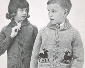 Vintage knitting pattern - Zippered Cardigans for Girls & Boys - pdf download - Retro 60s Kids Sweater Jackets