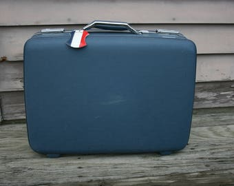 American Tourister Suitcase Blue Hard Shell Vinyl Luggage Mid Century Modern Vintage Travel