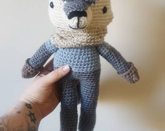Stuffed wolf toy~ cozy wolf stuffy~ handmade crochet doll