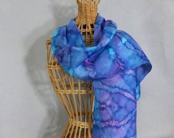 "Silk Scarf ""True Blue"", Hand Painted Silk Scarf"