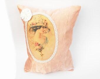 Vogue Vignette Pillow Floral Rose Millinery Hat Jane Austen Victorian Lady Cottage Chic Home Decor Crinkled Chiffon Pink White Satin Rosette
