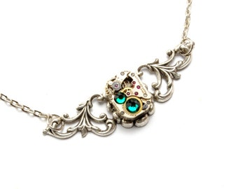 MAY Steampunk Necklace EMERALD Steampunk Wedding Jewelry Vintage Watch Necklace Gorgeous Silver Steampunk Jewelry By Victorian Curiosities