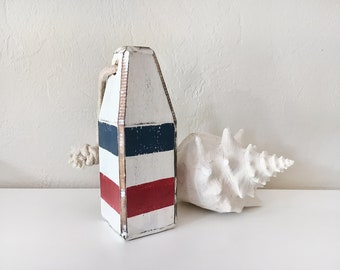 """Beach Decor, 8"""" Old-style lobster float buoy, Stripe Blue Red White, Vintage Style, Nautical, by SEASTYLE"""