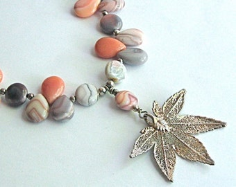 Real Leaf Necklace - Pink Botswana Agate Pearl Sterling Silver
