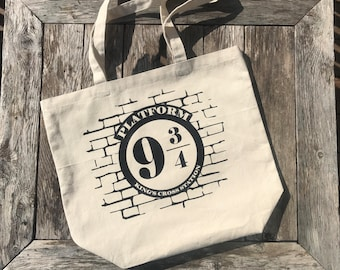 Harry Potter Tote Bag - Platform 9 3/4 Canvas Tote Bag - Harry Potter Gift - Library Book Bag -  Shopping Tote -Christmas Gift
