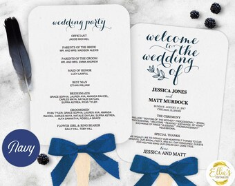 Wedding Fans, Printable Wedding Fan Program Template, Fan Wedding Program, Editable text, Modern Calligraphy, Mr Mrs, NAVY 009