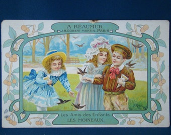"1900 advertising card ""children's friends."" sparrows """