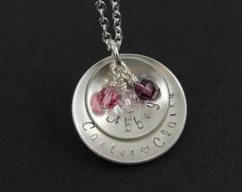 Hand stamped Mommy Necklace - Domed Disc Necklace - Personalized Custom Jewelry