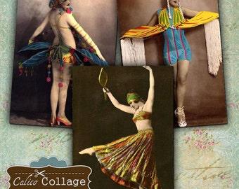 Casino de Paris Burlesque Dancers Digital Collage Sheet ATC Collage Sheet Vintage Dancers Hang Tags ATC Tag 2.5x3.5 Size Sexy Women