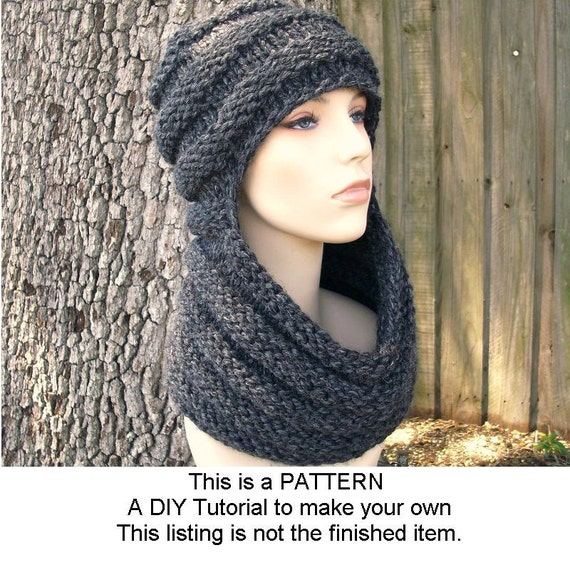 Instant Download Knitting Pattern - Womens Cowl Pattern - Knit Hat ...