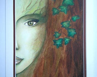 Watercolor: Dryad emerging from her tree