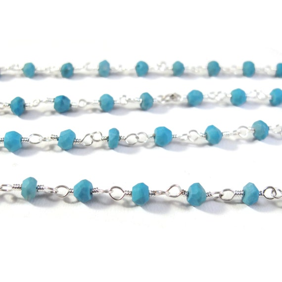 Turquoise Rosary Chain, Silver Plated Wrapped Beaded Gemstone Chain By the Foot, Beaded Chain