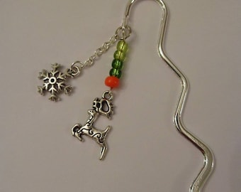 """Silver colored """"reindeer and snowflake"""" bookmark"""