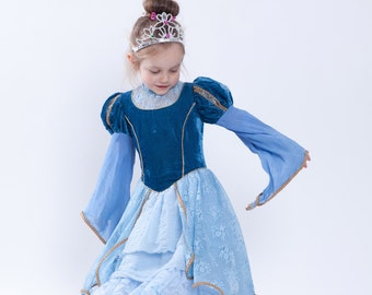 Carnival Costume, Girls Cinderella Dress, Toddler Lace Dress, Cinderella Costume, Ruffle Dress, Disney Princess Costume, Halloween Clothes