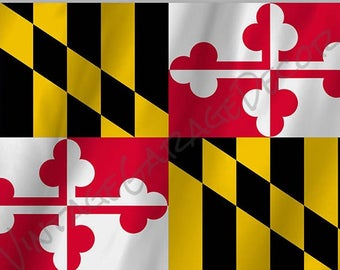 Maryland State Flag on a Metal Sign