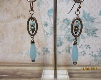 SeafoamBeachglass Copper dangles