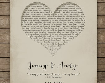 I carry your heart with me poster - e.e. cummings - inspirational print - wall art - love poetry heart typography Valentineu0027s Day 8x10 print & I carry your heart wall art   Etsy