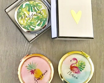 Compact Mirror - Bridal Compacts - Bridesmaid Gift - Tropical Wedding - Compact Mirror Personalized - Bridal Shower Favors