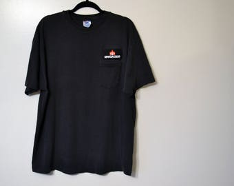 vintage faded super soft destroyed 'specialized' patch t shirt black top