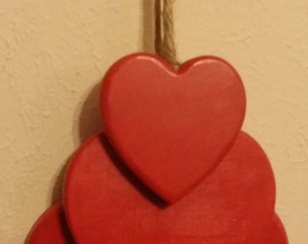 Hearts Hanging On A Jute Rope