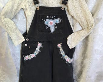 Denim Overall Shorts w/Hand Painted Trim/Size L