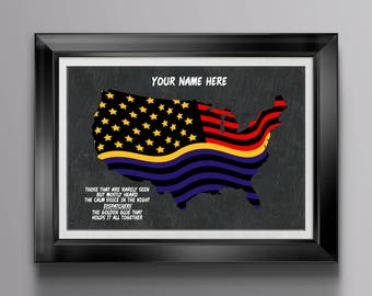 Thin Gold Line Flag * 911 Thank You Gift * 911 Dispatcher Gifts * Personalized 911 Gift *  Dispatchers Home * Dispatcher Home Prints PP 3070