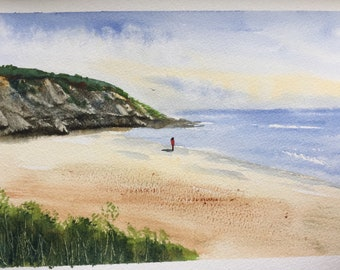 Seascape ORIGINAL Watercolour artwork 'On the Shore' 11.5 x 8inches Ocean For Her For Him Gift idea Home decor Free Shipping