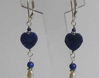 Lapis Lazuli and Pearl Handmade Artisan Earrings - Gift for Her