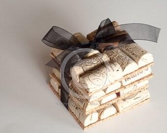 Wine Cork Coasters Set of Four, Wedding Favor, Wholesale, Wine Cork Crafts, Unique Wedding Favors, Easter Basket Gift