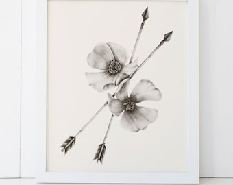 Wild Rose and Arrows 8x10 Giclee Fine Art Print