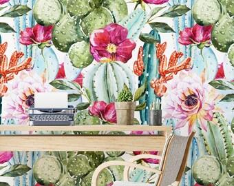 Cactus Print, Cactus Wall Art, Succulent Print, Floral Wallpaper, Cactus, Succulents, Removable Wallpaper, Succulent, Wallpaper - SKU: WCW