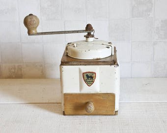 Antique French PEUGEOT FRERES Coffee Grinder 1940's    Vintage French White Metal and Wood Coffee Mill - Shabby Chic