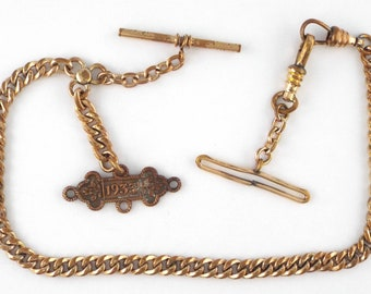 Antique Rose Gold Filled Fob Watch Chain - 32.9 gr.