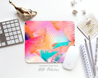 "Palm Leaves Mousepad ""Cuban Sunset"" by Iveta Abolina Mousepad Tropical Leaves Mousepad Mouse Pad Office Mousemat Beach Palm Trees I124"