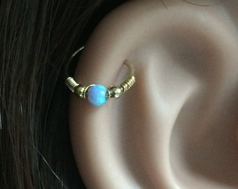 Tiny cartilage earring, opal cartilage ring, helix ring, cartilage earring, opal earring, tiny cartilage hoop, opal cartilage, cartilage