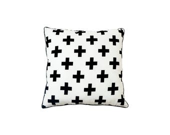 Monochrome Pillow / Black And White Cushion / Decorative Pillow / Black Pluses Crosses Pillow / Kid's Cushion / Toddler Room Decor