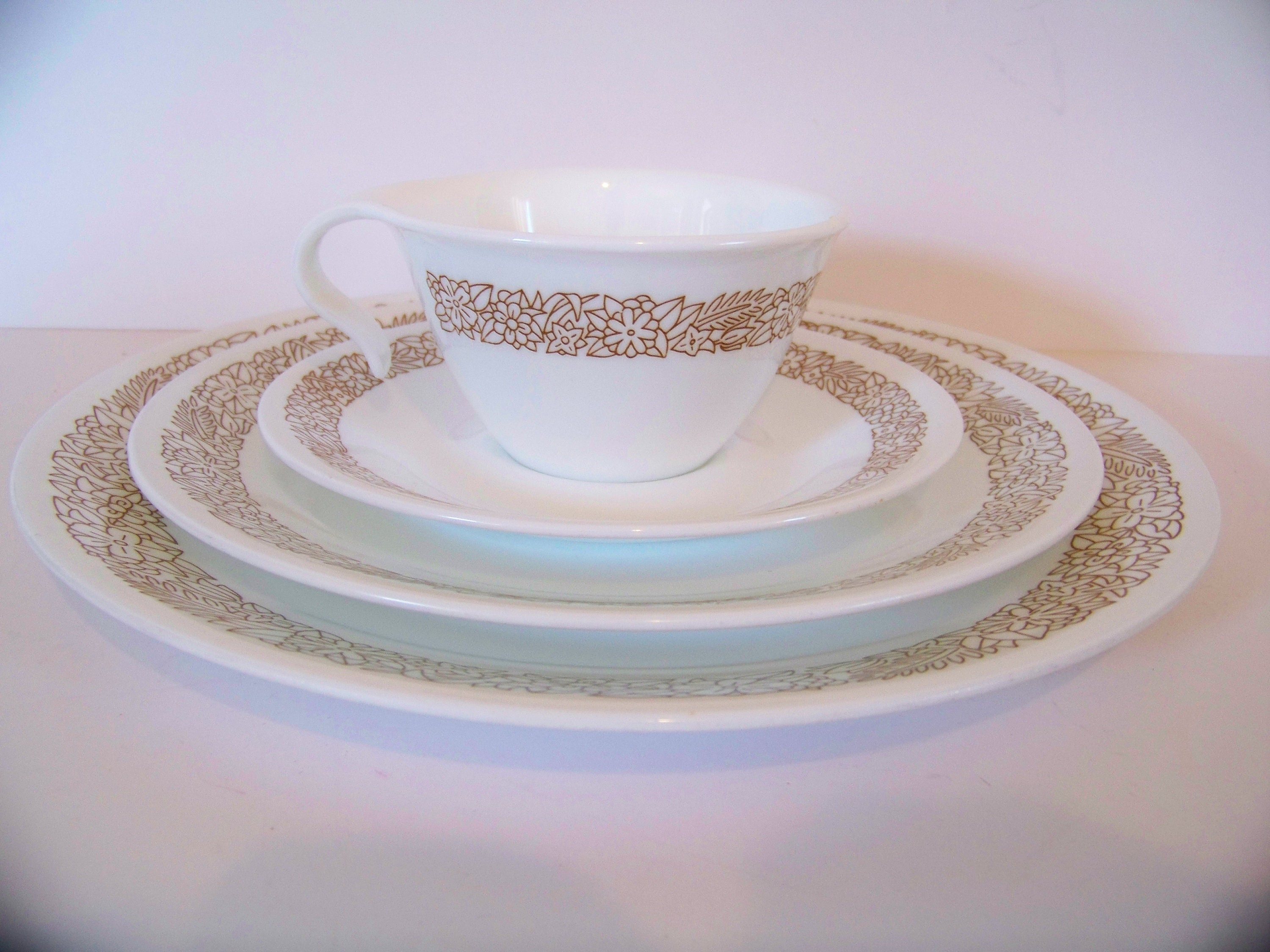 Vintage Corelle Woodland Brown / One Coffee Cup /One Salad