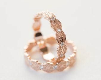 Wedding Ring Set, Gold Stacking Rings, Diamond Stacking Ring, Gold Stacking Ring Set, Rose Gold Stacking Rings, Lesbian Wedding Rings, Lace