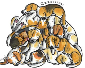"""BEAGLES - Original 10x12"""" mounted ink cartoon of a pile of sleepy Beagle hound dogs, by Yorkshire animal artist Jess Chappell"""