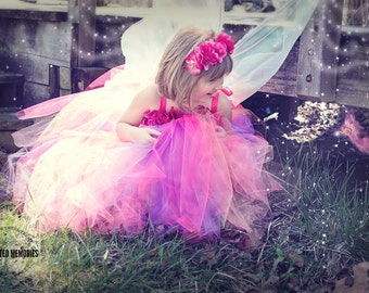 Flower girl dress - tutu dress - tulle dress -Pink Tutu Dress - Fairy Dress -Infant/Toddler Dress- Pageant dress -Princess dress -Pink Dress