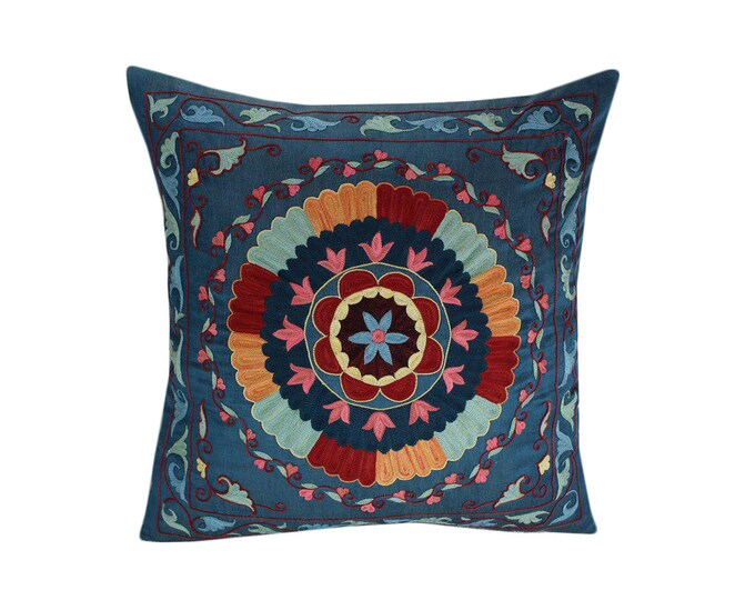 Hand Embroidered Suzani Pillow Cover SP39 (msp796), Suzani Pillow, Suzani Throw, Boho Pillow, Suzani, Decorative pillows, Accent pillows