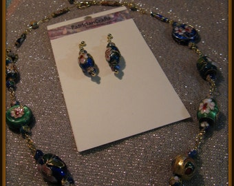 168 Treasure Trove Floral Cloisonné & gold chain necklace and earrings with heart charm 16-20 inches