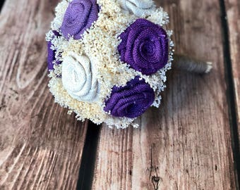 Purples & Ivory Bridesmaids Bouquet (Choose Size)- Bouquets Burlap Bouquets, Bridesmaids Bouquets, Burlap Wedding Bouquets, Rustic Bouquets