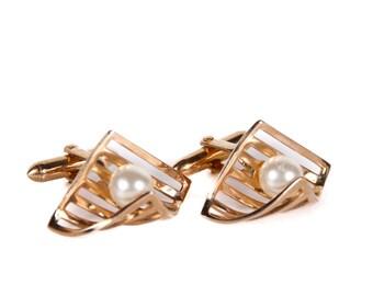 Vintage Gold Cufflinks / Swank Cufflinks Mens Cufflink / Classic Cuff Links / Pearl Cuff Links / Mens Cufflinks / Mens Gift Fashion