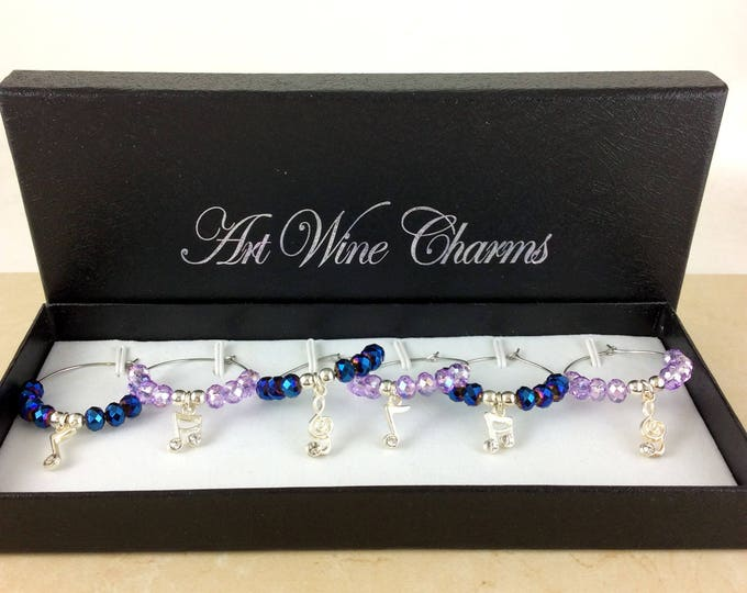 Wine glass charms, wine Lover Gift, Wine Charms, Wine Gift, Music lover gifts, Music lover gift, musical notes, music note charms, gifts