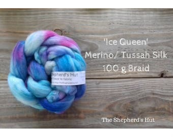 Merino/ Tussah Silk hand dyed braid 'Ice Queen' 100 g  3.5 oz
