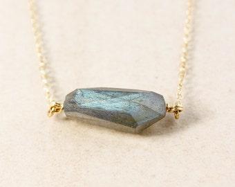 Organic Shape Free Form Blue Green Labradorite Pendant Necklace – Choose Your Setting