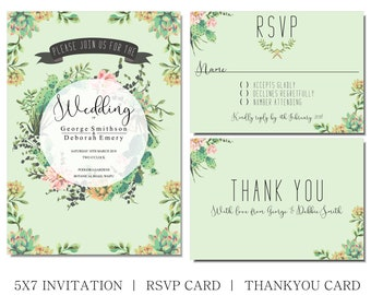 Cactus wedding invitation, with matching rsvp and thank you cards, cactus and succulent, printable set