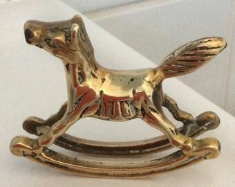 Vintage Brass Rocking Horse - VGC