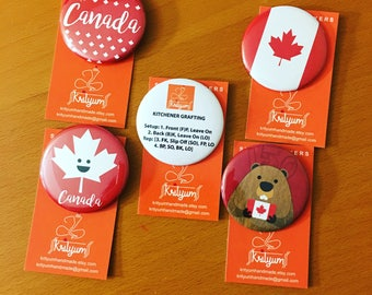 """2.25"""" Buttons for your project bags, accessories - Kitchener Stitch - Maple Leaf - Beaver - Canada - Smiley Maple"""